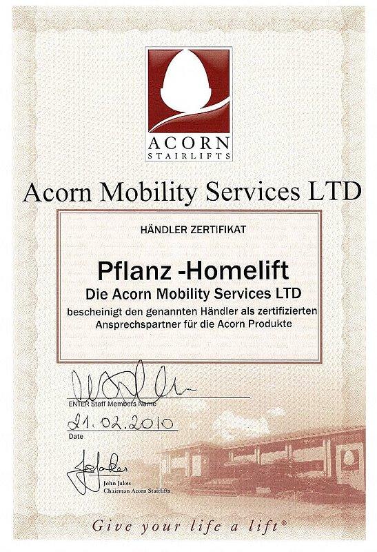 Acorn Treppenlifte Zertifikat Fachhänlder