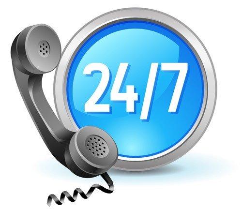 24 Stunden 7 Tage die Woche erreichbar Service Telefon
