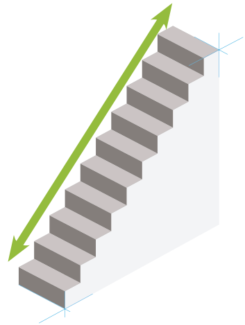 gerader Treppenverlauf