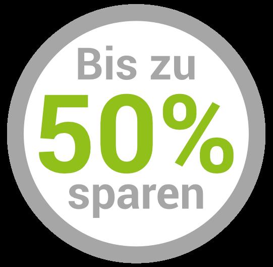 Bis zu 50% sparen