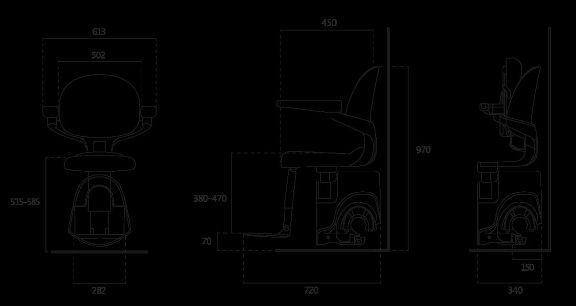 Flow X Treppenlift-Abmessungen